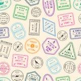 Dirigez l'illustration de modèle ou de fond avec des timbres de courrier et d'immigration de différents pays illustration stock