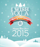 Dirigez l'illustration de Noël avec la conception typographique et le ruban sur le fond de flocons de neige Photographie stock libre de droits