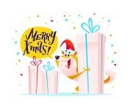 Dirigez l'illustration de Noël du caractère gai de chien dans le chapeau de Santa avec de grands boîte-cadeau et la salutation d' illustration libre de droits