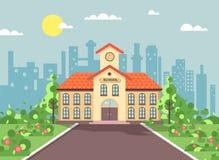 Dirigez l'illustration de nouveau au bâtiment à deux étages d'architecture d'école avec le porche, horloge sur la tour, buissons  illustration stock
