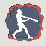 Dirigez l'illustration de papier de métier d'art d'un hittin de joueur de baseball Photographie stock libre de droits