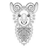 Dirigez l'illustration de Ram Head de zentangle, copie de chèvre pour l'adulte Photographie stock libre de droits