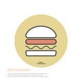 Dirigez l'illustration de style d'icône des aliments de préparation rapide, hamburger sur coloré autour du fond Images libres de droits
