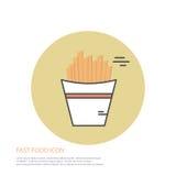 Dirigez l'illustration de style d'icône des aliments de préparation rapide, pommes frites sur coloré autour du fond Photos stock