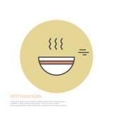 Dirigez l'illustration de style d'icône des aliments de préparation rapide, un plat de soupe sur coloré autour du fond Photo libre de droits