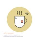 Dirigez l'illustration de style d'icône des aliments de préparation rapide, une tasse de thé sur coloré autour du fond Photographie stock libre de droits