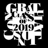 Dirigez l'illustration de typographie de la classe de 2019 en noir et blanc illustration stock