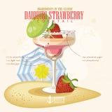 Dirigez l'illustration de vecteur de l'illustration de vecteur du cocktail alcoolique populaire Tir d'alcool de club de fraise de Images libres de droits
