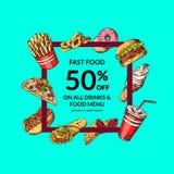 Dirigez l'illustration de vente avec les éléments tirés par la main colorés d'aliments de préparation rapide illustration libre de droits