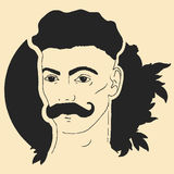 Dirigez l'illustration de vintage d'un visage du ` s d'homme avec une moustache Photo stock