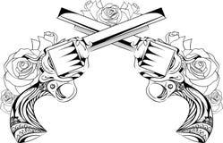 Dirigez l'illustration de vintage de deux revolvers avec des roses Images stock
