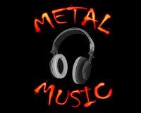 Dirigez l'illustration des écouteurs gris avec l'inscription de musique en métal d'inscription sur le fond noir Illustration Libre de Droits