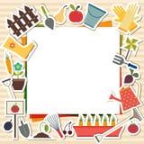 Dirigez l'illustration des éléments de jardinage avec l'endroit pour le texte Photo stock