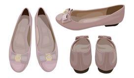 Dirigez l'illustration des appartements du ballet des femmes en Dusty Pink Color, regard à la mode illustration stock