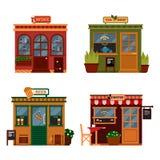 Dirigez l'illustration des bâtiments qui sont des boutiques pour la boisson de achat Ensemble de boutiques plates agréables Étala Photographie stock libre de droits