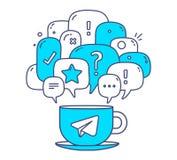 Dirigez l'illustration des bulles bleues de la parole de dialogue de couleur avec l'ico Photos stock