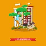 Dirigez l'illustration des chiens de marche de volontaire en parc, conception plate Photos libres de droits