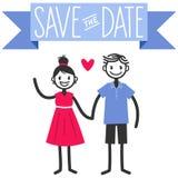 Dirigez l'illustration des chiffres mignons couples de bâton, sauvez le calibre de mariage de date Photo libre de droits