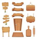 Dirigez l'illustration des enseignes en bois, des portes, des plats et d'autres différentes formes avec la texture en bois images libres de droits
