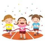Dirigez l'illustration des filles sur une voie de course sur un fond blanc Photos stock