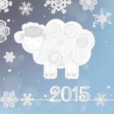 Dirigez l'illustration des flocons de neige et des moutons, symbole de 2015 sur le calendrier chinois Photos libres de droits