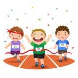 Dirigez l'illustration des garçons sur une voie de course sur un fond blanc Photographie stock libre de droits