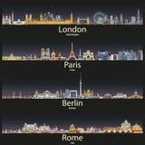 Dirigez l'illustration des horizons de Londres, de Paris, de Berlin et de Rome de ville au coucher du soleil illustration de vecteur