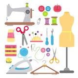 Dirigez l'illustration des icônes plates de couture et de couture réglées d'isolement sur le fond blanc dans le style plat avec l illustration stock