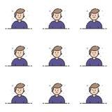 Dirigez l'illustration des icônes bleues dans la ligne style plate Concept de construction graphique d'Emoji et d'avatar Photographie stock