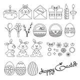 Dirigez l'illustration des icônes de Pâques d'ensemble sur le blanc Image libre de droits