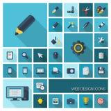 Dirigez l'illustration des icônes plates de couleur avec la longue ombre Outils graphiques pour le design de l'interface Photo libre de droits