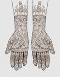 Mains avec le tatouage de henné Photos libres de droits