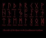 Dirigez l'illustration des symboles rouges de runes en métal de rune sur un fond noir illustration stock