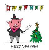 Dirigez l'illustration, design de carte drôle de la bonne année 2019 avec la copie de porc de bande dessinée Joyeux Noël illustration de vecteur