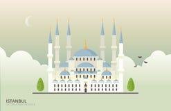 Dirigez l'illustration du bâtiment historique à Istanbul, Turquie Style plat de Sultan Ahmed Mosque Photos libres de droits