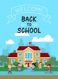 Dirigez l'illustration du bâtiment scolaire avec des écoliers, pour l'affiche ou la bannière, etc. Photo stock
