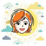 Dirigez l'illustration du beau visage femelle roux, positiv illustration de vecteur