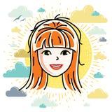 Dirigez l'illustration du beau visage femelle roux, positiv illustration libre de droits