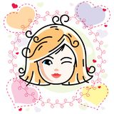 Dirigez l'illustration du beau visage heureux blond de fille, positiv Illustration de Vecteur