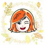 Dirigez l'illustration du beau visage heureux roux de fille illustration de vecteur