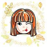 Dirigez l'illustration du beau visage heureux roux de fille illustration stock