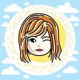 Dirigez l'illustration du beau visage heureux roux de fille, position illustration libre de droits