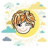Dirigez l'illustration du beau visage heureux roux de fille, position illustration de vecteur