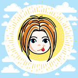 Dirigez l'illustration du beau visage heureux roux de fille, position Illustration Stock