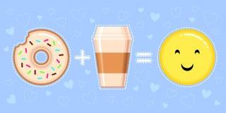 Dirigez l'illustration du beignet avec le lustre, la tasse de café et le visage jaune de sourire Images stock