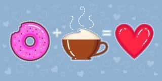 Dirigez l'illustration du beignet avec le lustre, la tasse de cappuccino et le coeur roses Photos stock