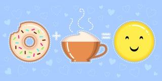 Dirigez l'illustration du beignet avec le lustre, la tasse de cappuccino et le visage jaune de sourire Photo stock