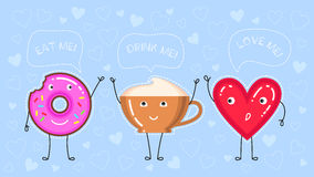 Dirigez l'illustration du beignet avec le lustre rose, la tasse de café et le coeur rouge Images stock