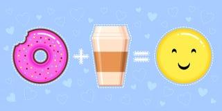Dirigez l'illustration du beignet avec le lustre rose, la tasse de café et le visage jaune de sourire Photos stock