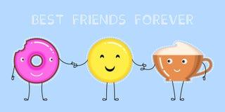 Dirigez l'illustration du beignet avec le lustre rose, tasse de café, emoji jaune de sourire Photos libres de droits